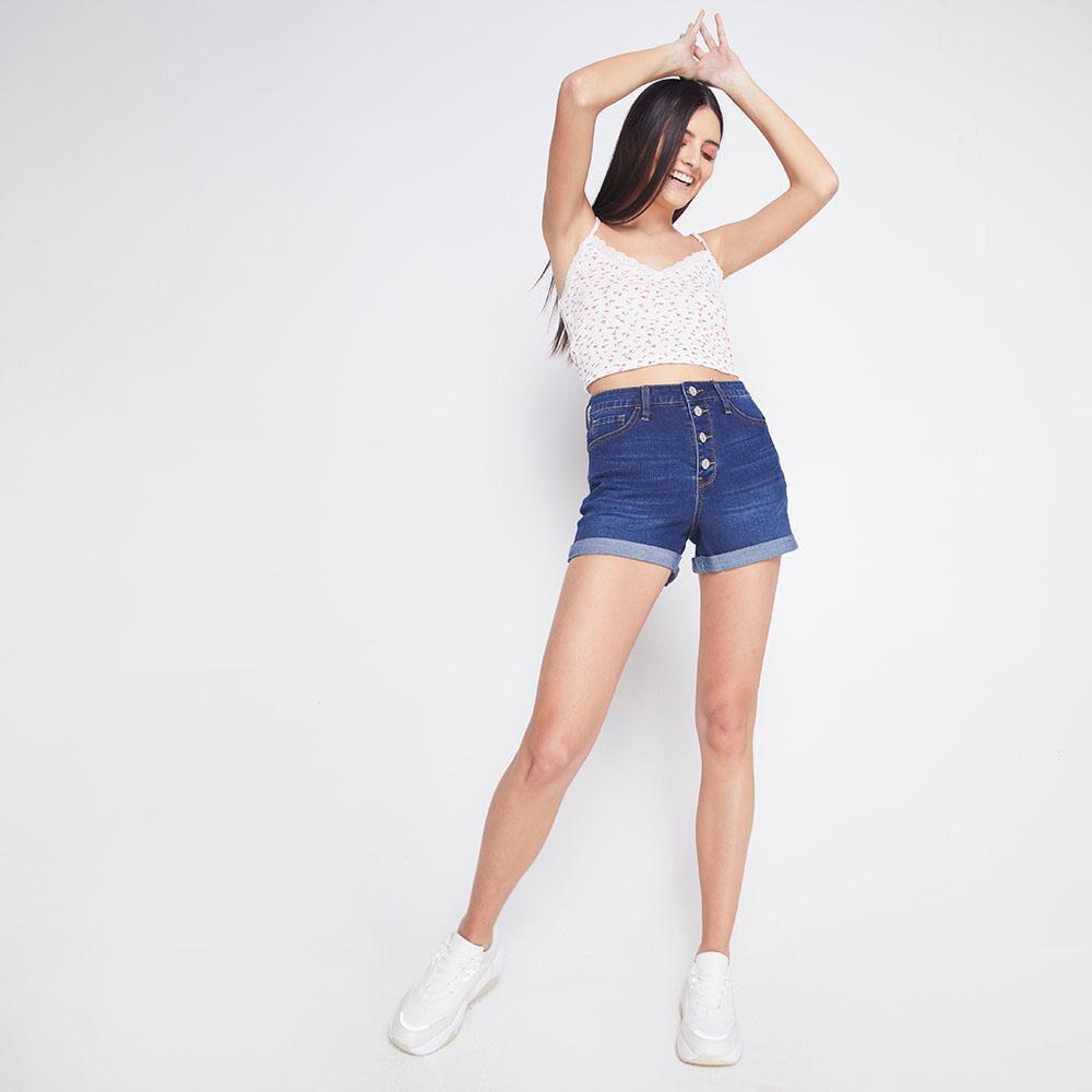 Short Mezclilla Tiro Alto Skinny Botones Mujer Freedom image number 1.0