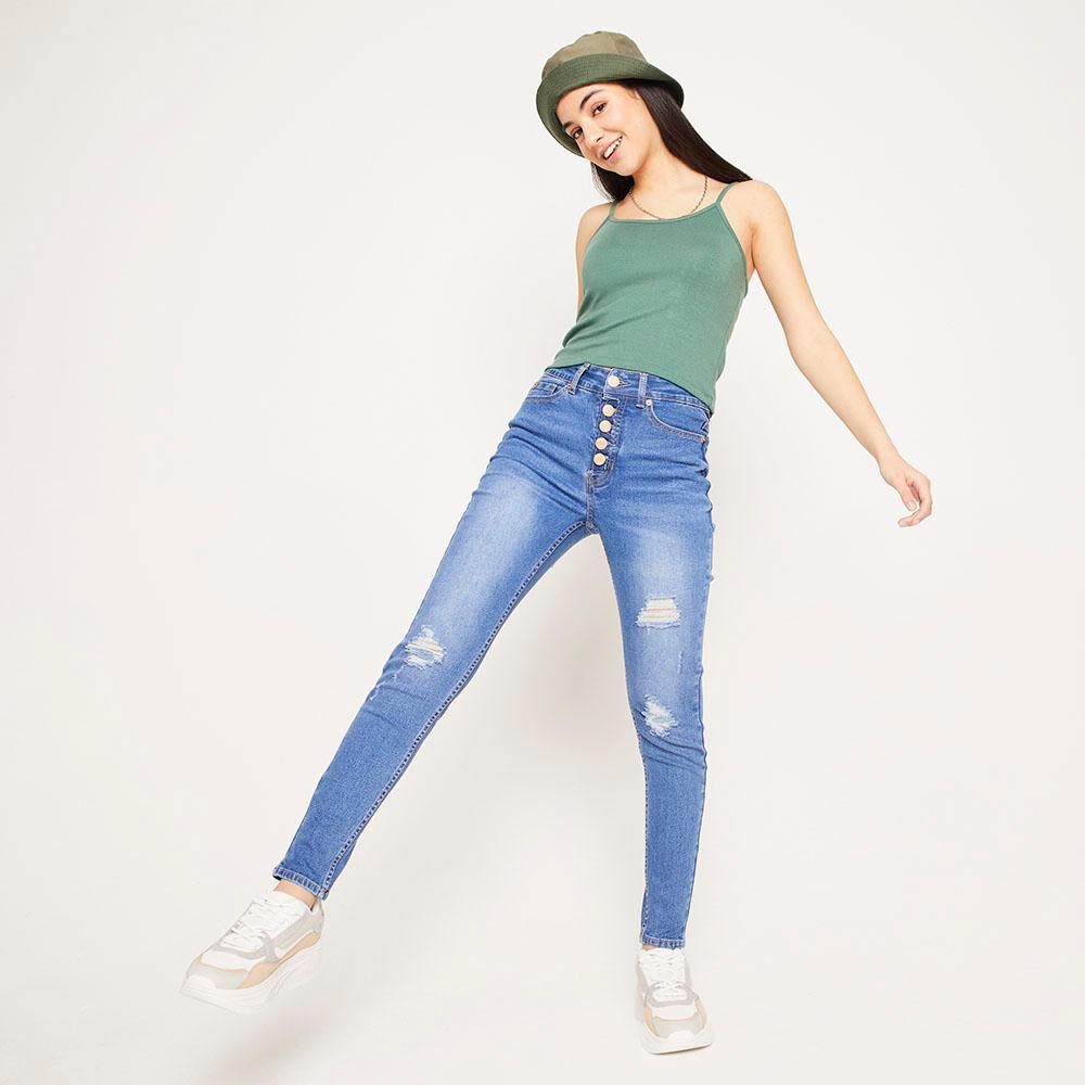 Jeans 5 Botones Tiro Alto Skinny Con Roturas Mujer Freedom image number 1.0