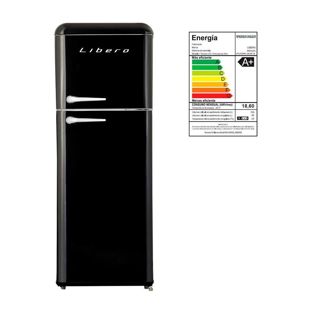 Refrigerador Libero Retro Lrt-210Dfnr Negro / Frío Directo / 203 Litros image number 4.0