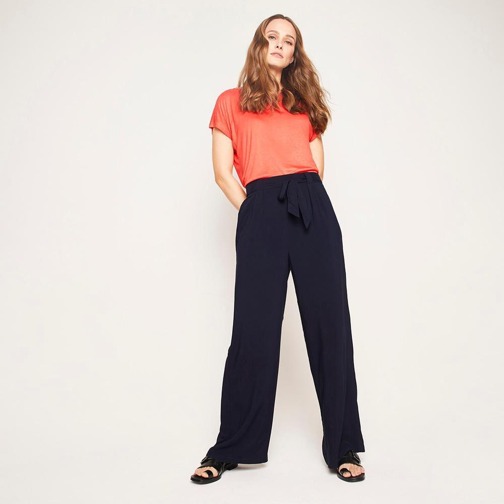 Pantalón Pretina Elástico Y Cinturón Tiro Medio Recto Mujer Kimera image number 1.0