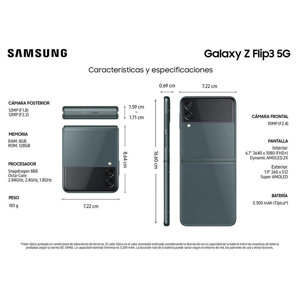 Smartphone Samsung Galaxy Z Flip 3 Verde / 128 Gb / Liberado image number 2.0