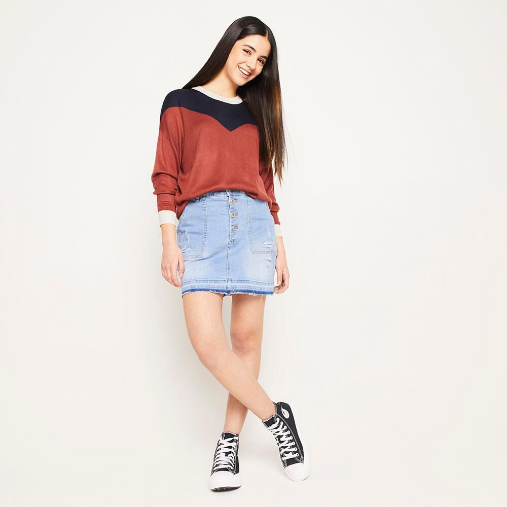 Sweater Bloque Regular Fit Cuello Redondo Mujer Freedom image number 1.0
