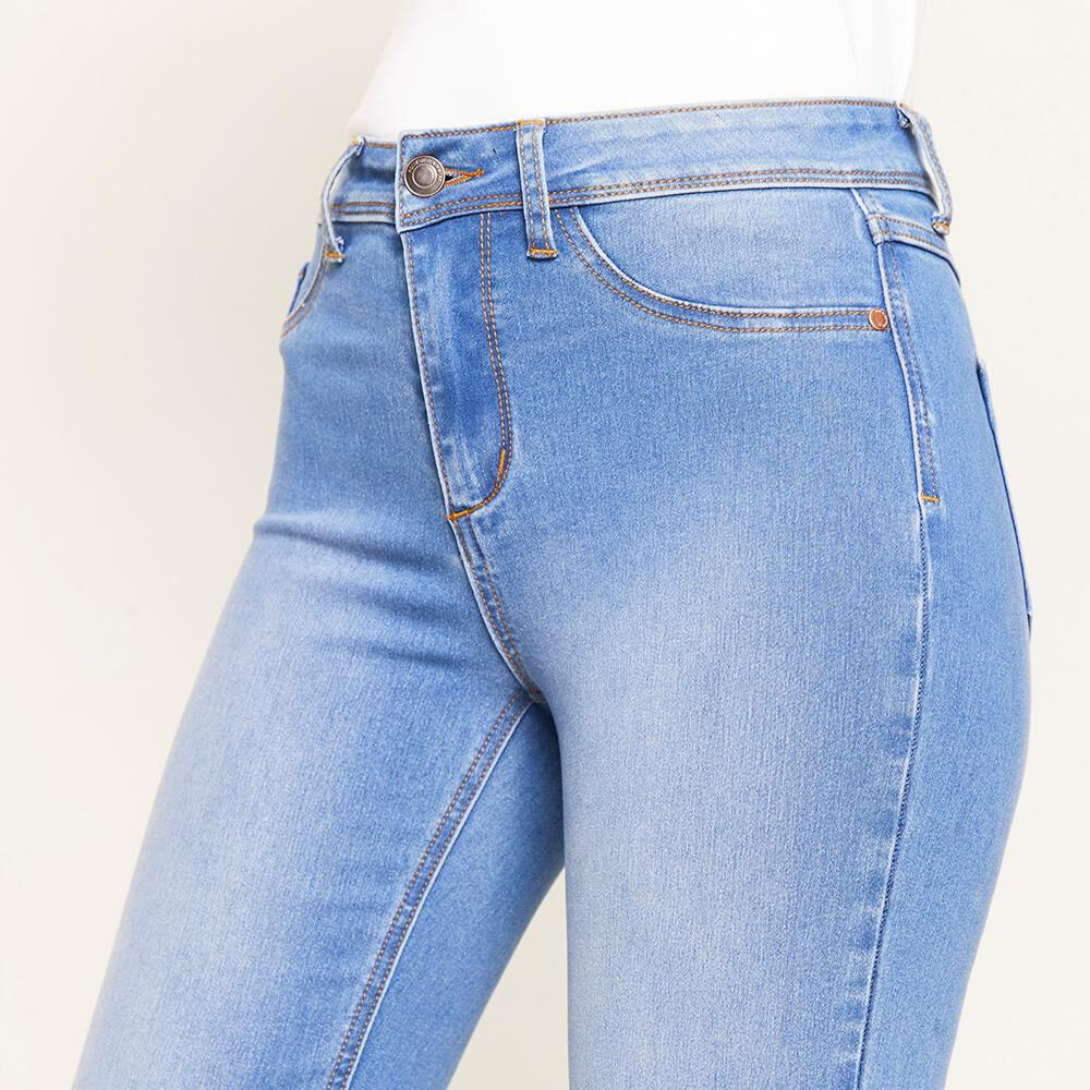 Jeans Tiro Alto Flare Mujer Rolly Go image number 3.0