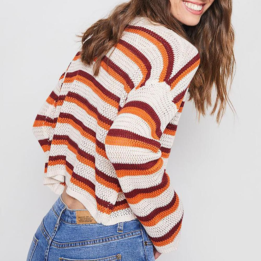 Sweater Rayas Tejido Corto Mujer Freedom image number 2.0