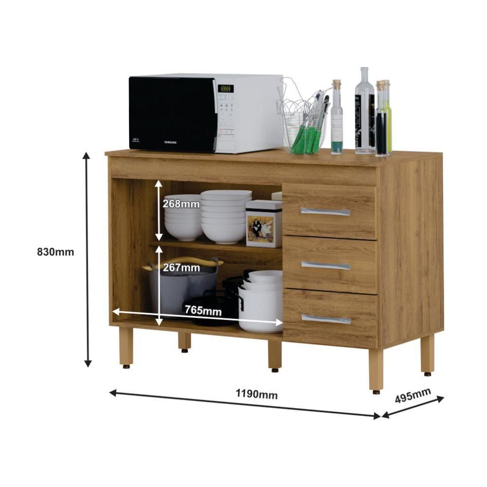 Mueble De Cocina Home Mobili Kalahari/montana / 2 Puertas / 3 Cajones image number 3.0