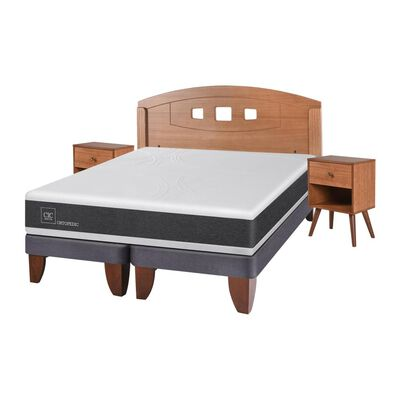 Cama Europea Cic Ortopedic / 2 Plazas / Base Dividida  + Set De Maderas
