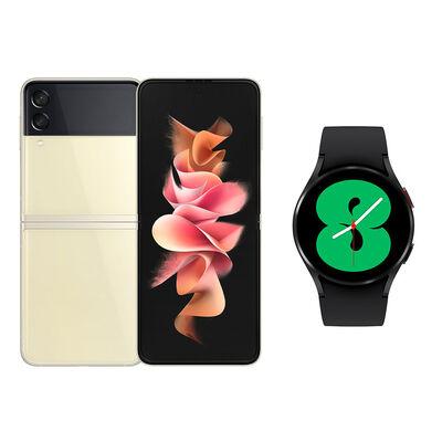Smartphone Samsung Galaxy Z Flip 3 128 GB Crema + Smartwatch Galaxy Watch4 40 mm