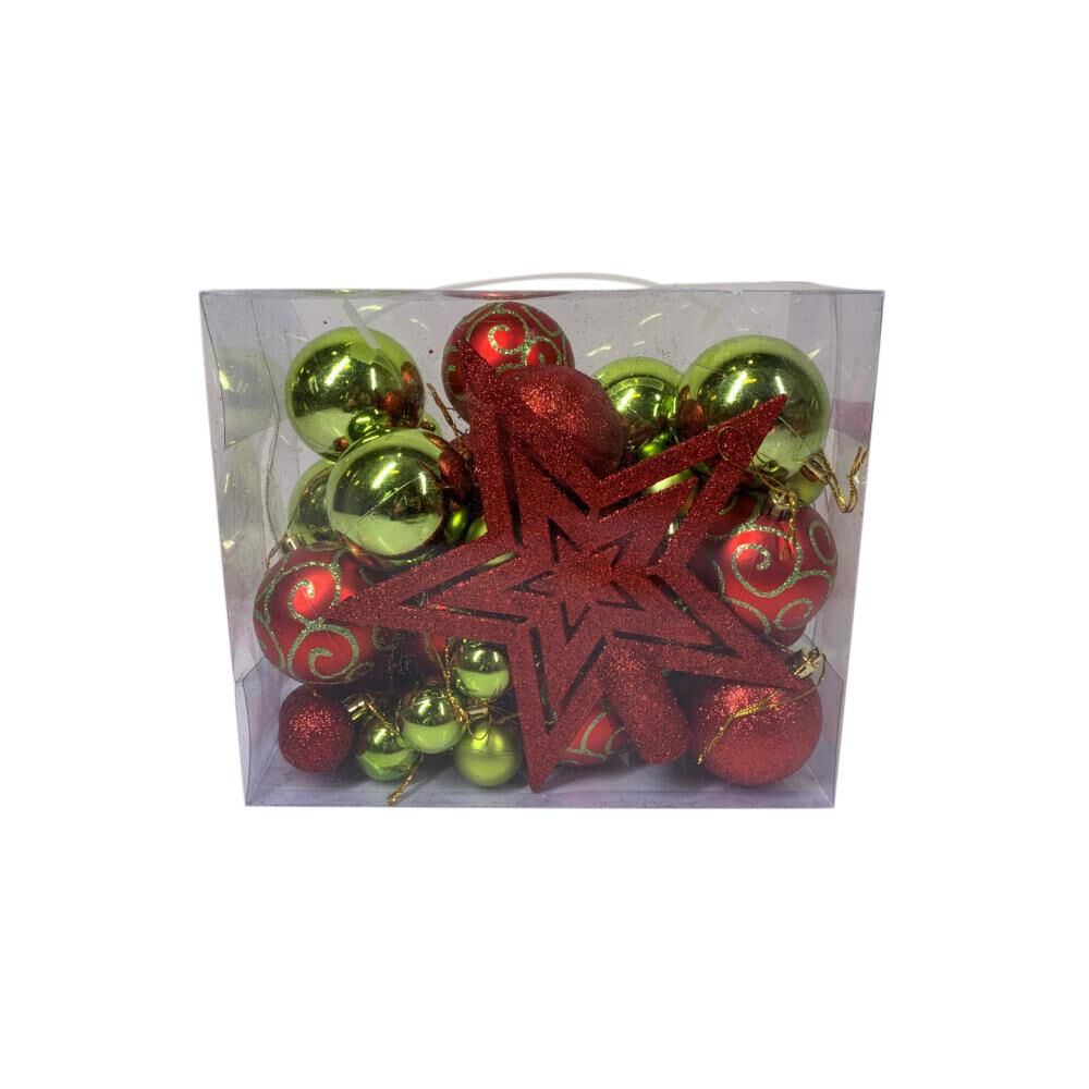 Esferas Casaideal Rojo/verde 49 Esferas + Estrella image number 1.0