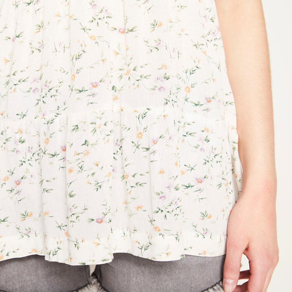 Blusa Relaxed Fit Manga Corta Cuello Redondo Con Lazo Mujer Freedom image number 4.0