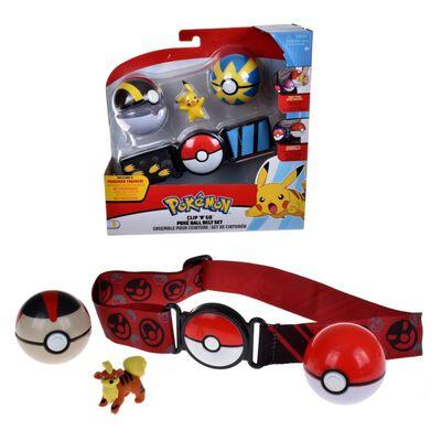 Set Cinturón Porta Pokebolas + Figura Pokemon