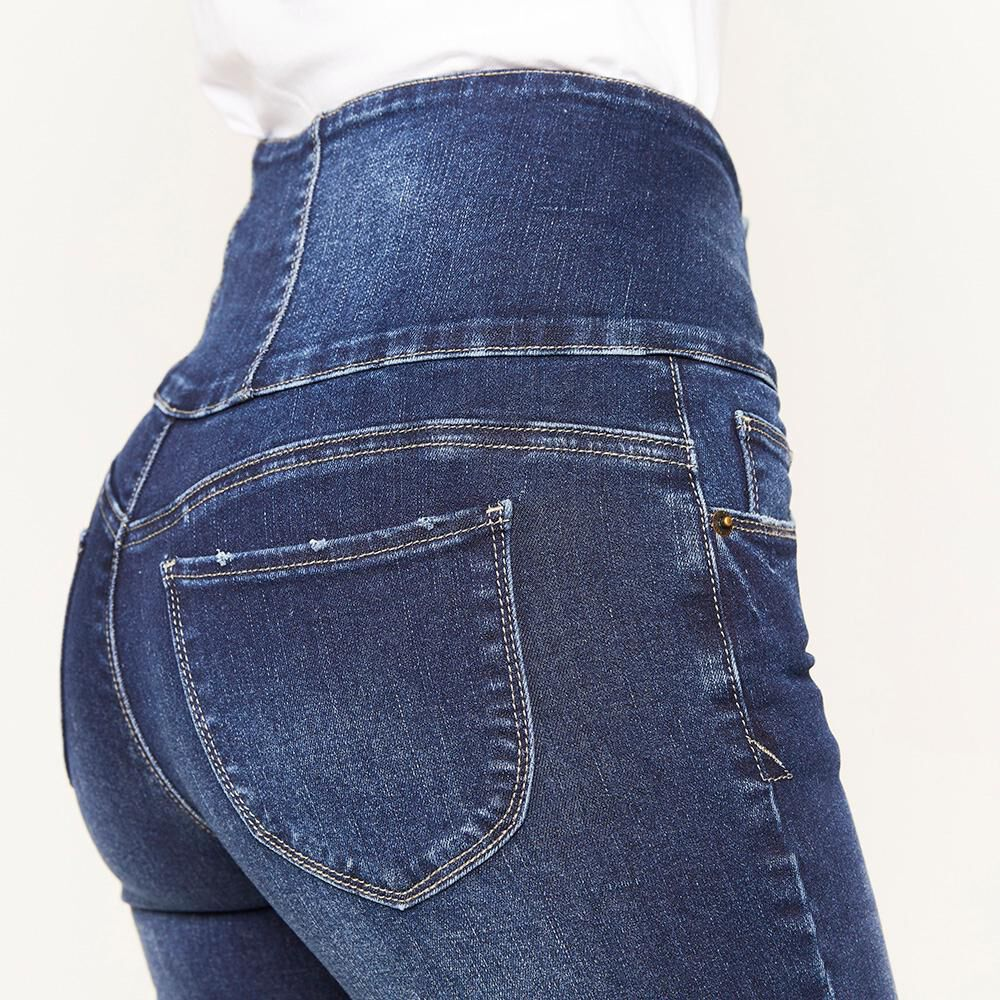 Jeans Pretina Alta Sculpture Mujer Rolly Go image number 4.0