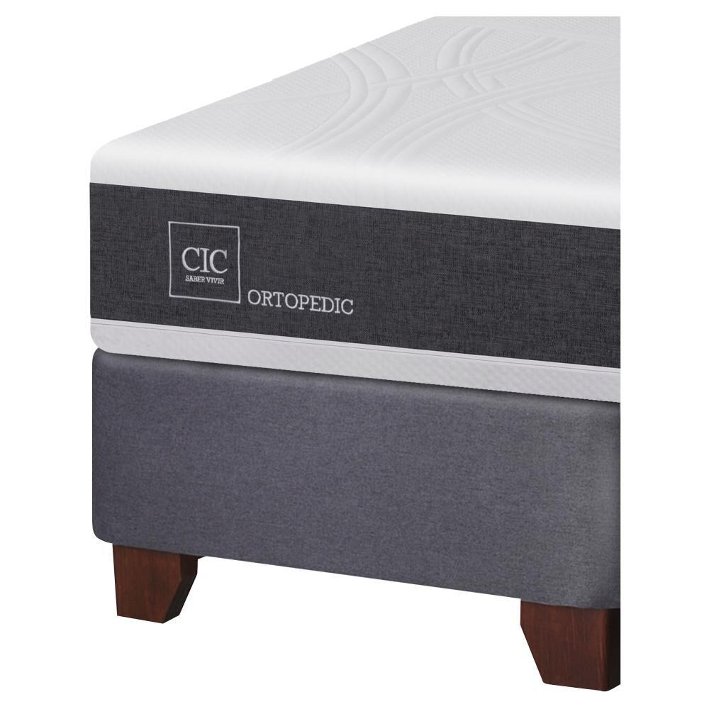 Box Spring Cic Ortopedic / 2 Plazas / Base Dividida  + Set De Maderas image number 2.0