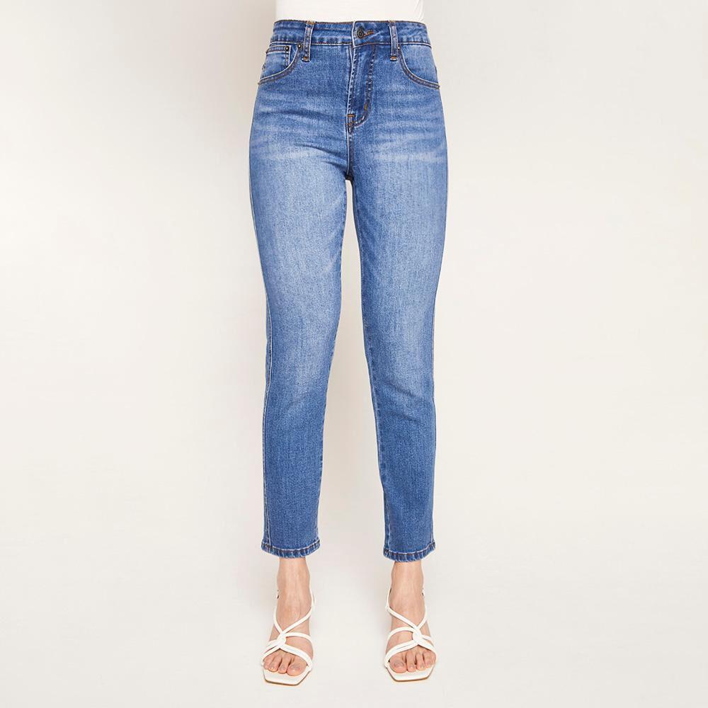 Jeans Crop Tiro Alto Recto Mujer Kimera image number 0.0