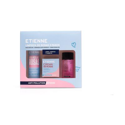 Set De Limpieza Facial Etienne / Agua Micelar 200ml + Crema Rosas 50gr + Desmaquillante 125ml