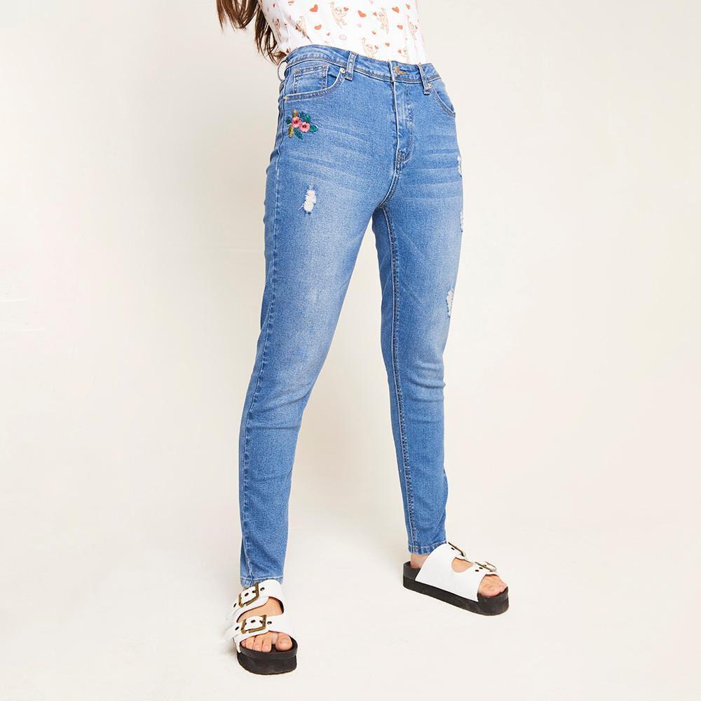 Jeans Bordado Tiro Alto Super Skinny Mujer Freedom image number 0.0