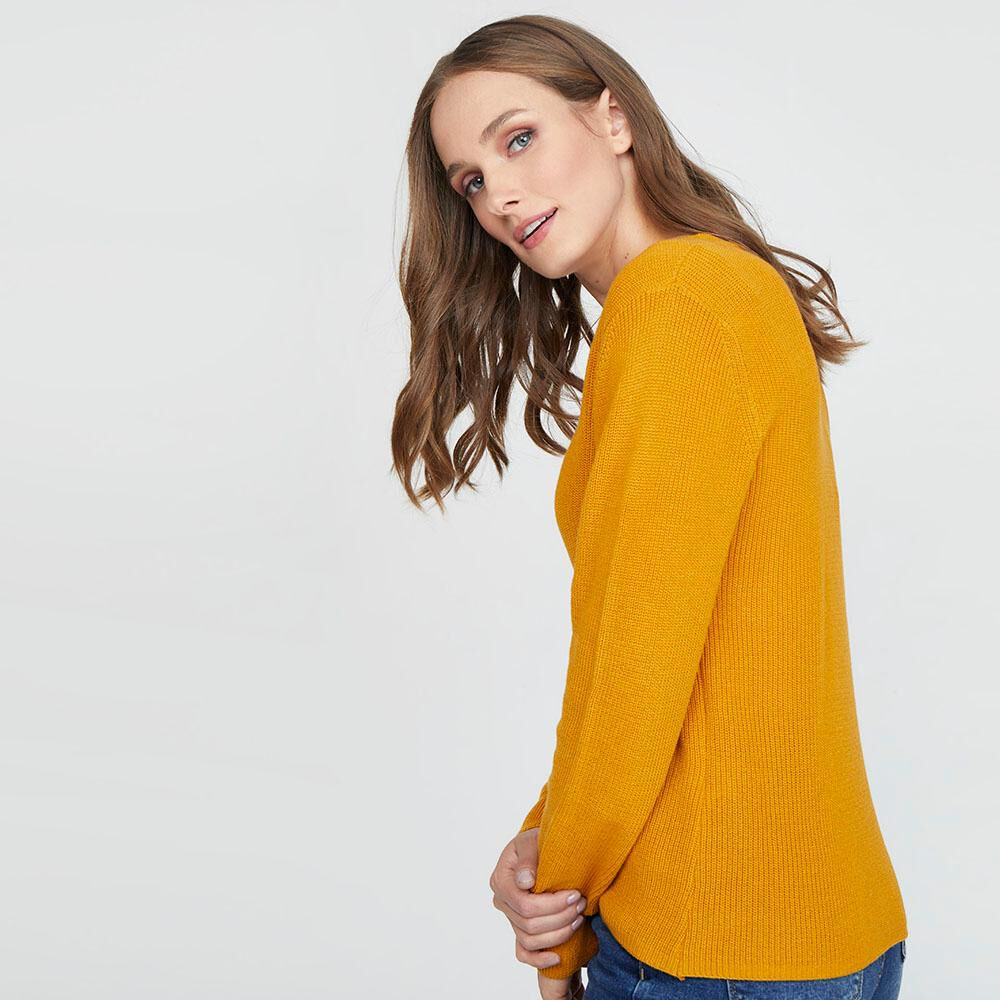 Sweater Liso Cuello V Mujer Kimera image number 2.0