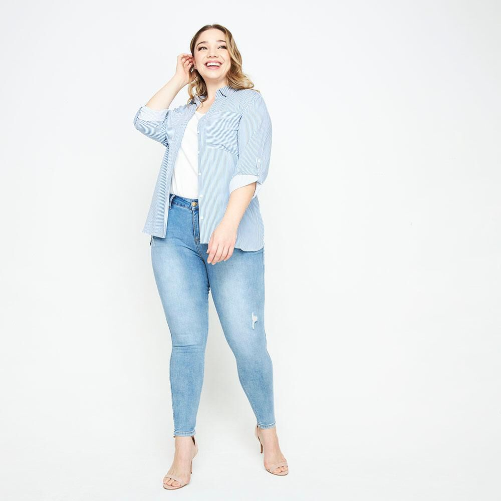 Jeans Tiro Medio Skinny Fit Mujer Sexy Large image number 1.0