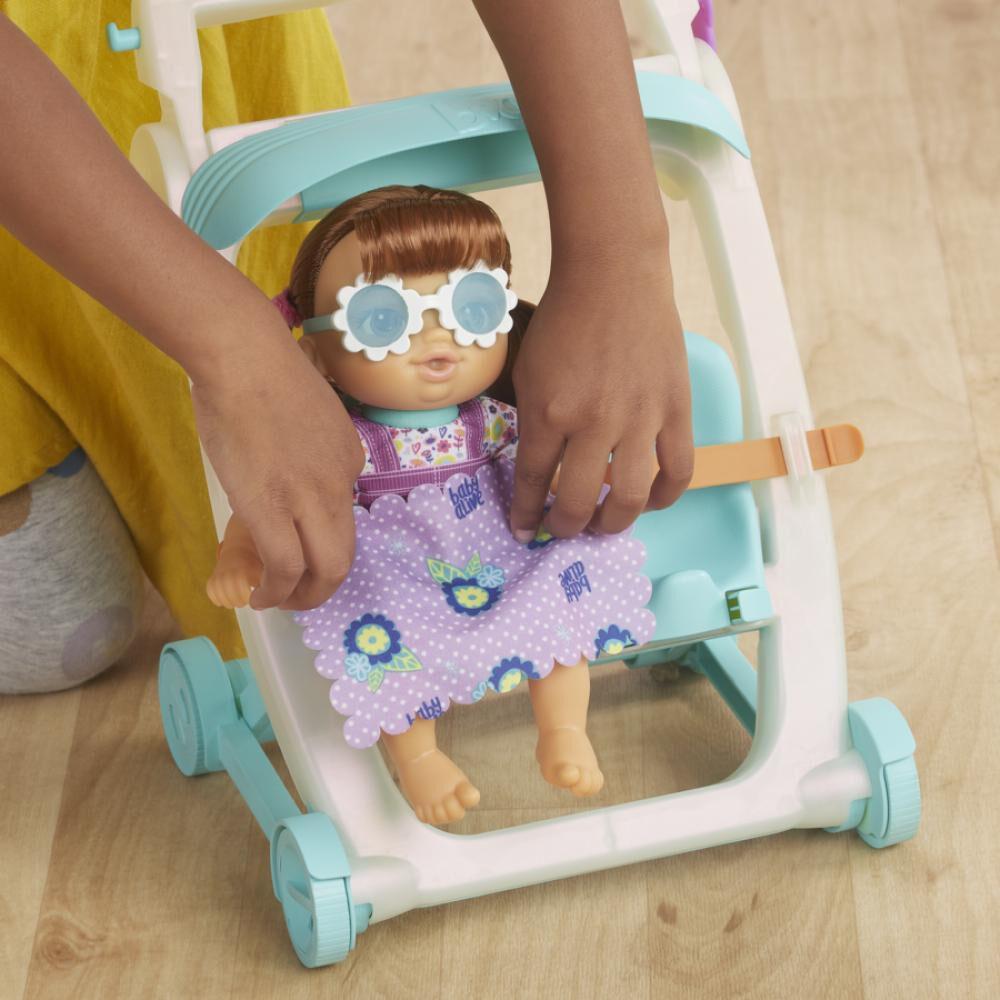 Muñeca Baby Alive Littles Coche De Bebé Cabello Castaño image number 3.0