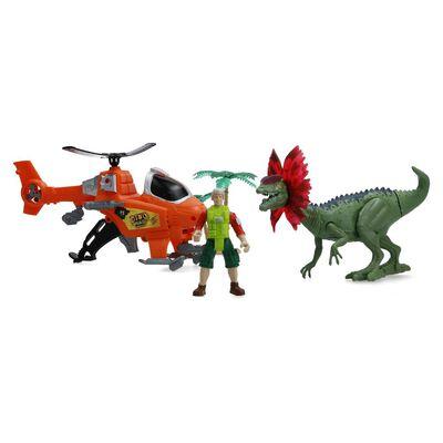 Set De Juguetes Hitoys Set Dinosaurio Helicoptero
