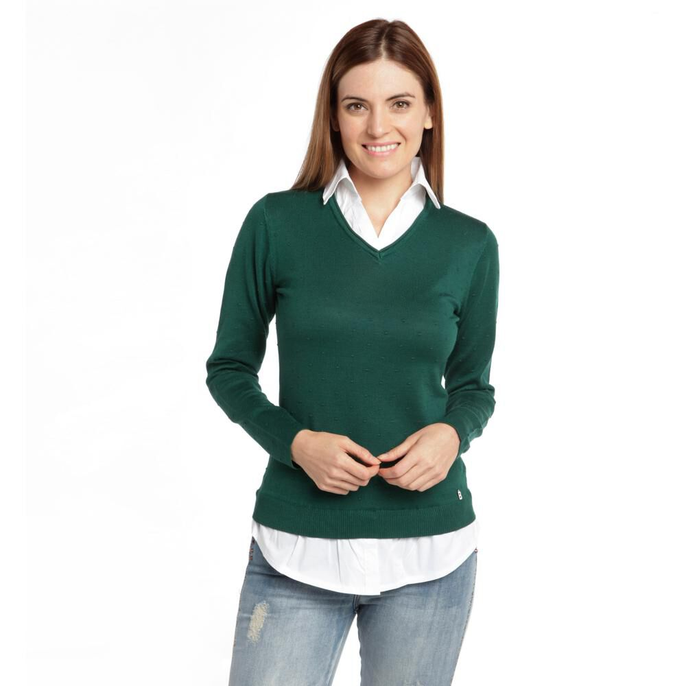 """Sweater Liso Cuello V Mujer Bny""""S image number 0.0"""