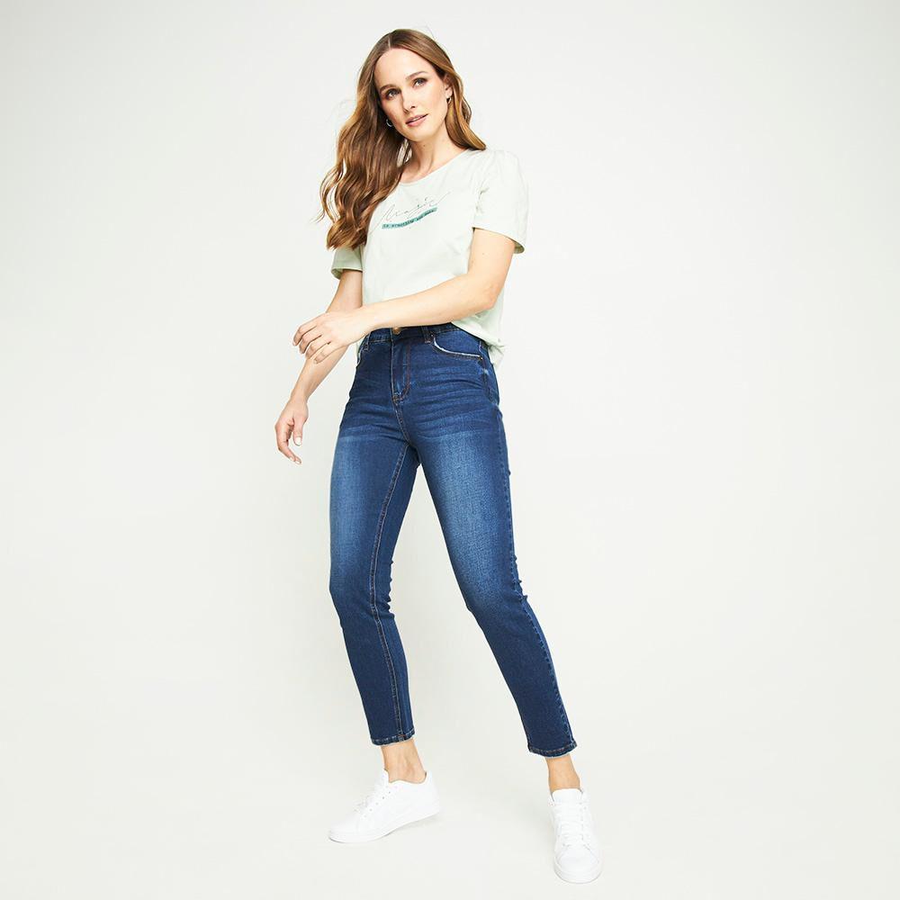 Jeans Lavado Tiro Medio Skinny Mujer Kimera image number 1.0