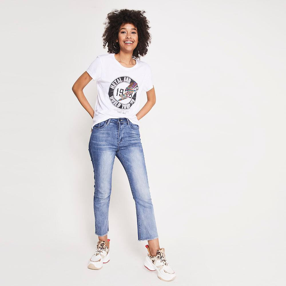 Jeans Tiro Alto Flare Crop Rolly go image number 1.0
