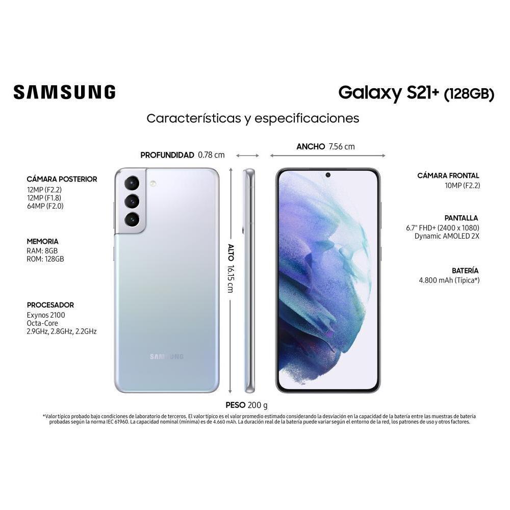 Smartphone Samsung S21+ Phantom Silver / 128 Gb / Liberado image number 7.0