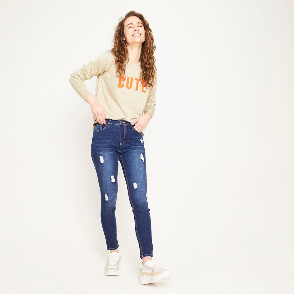 Jeans Rotura Tiro Medio Super Skinny Mujer Freedom image number 6.0