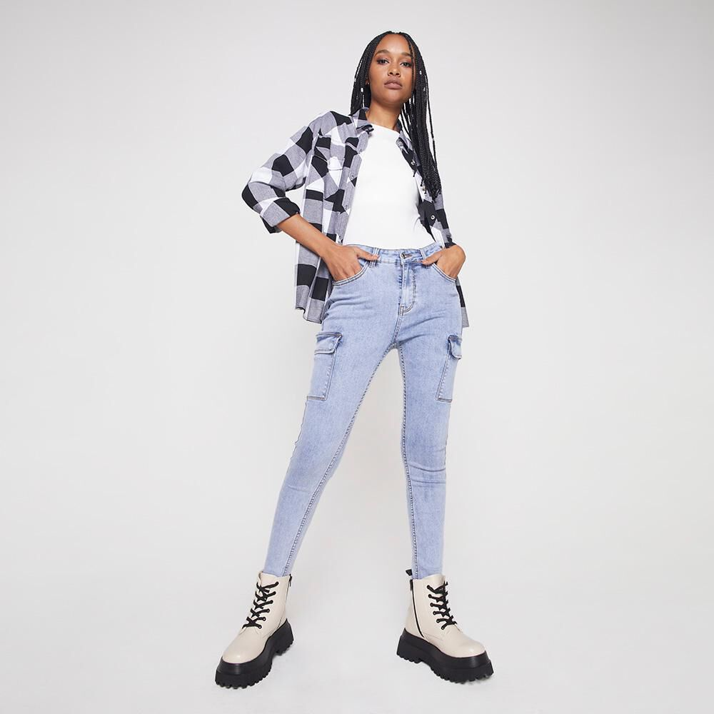Jeans Mujer Tiro Alto Cargo Rolly Go image number 1.0