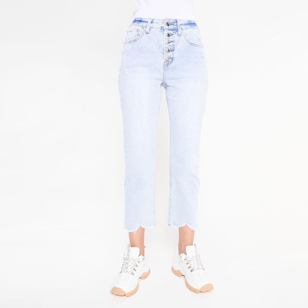 Jeans Tiro Alto Crop Botones Mujer Rolly Go image number 0.0