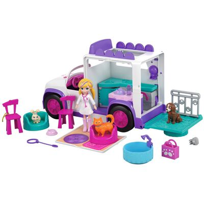 Accesorios Muñeca Polly Pocket Hospital Móvil De Animalitos