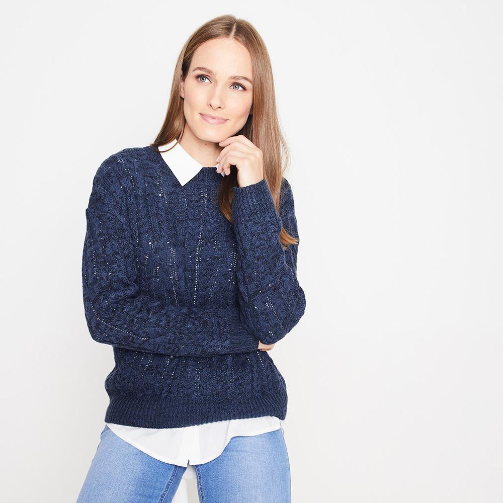 Sweater Jaspeado Trenzado Largo Mujer Geeps image number 0.0