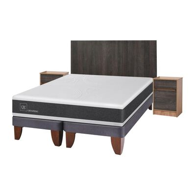 Cama Europea Cic New Ortopedic / King / Base Dividida + Set De Maderas