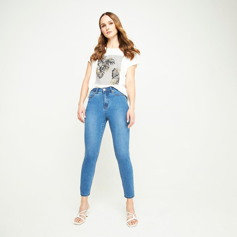 Jeans Tiro Medio Skinny Push Up Mujer Kimera image number 4.0