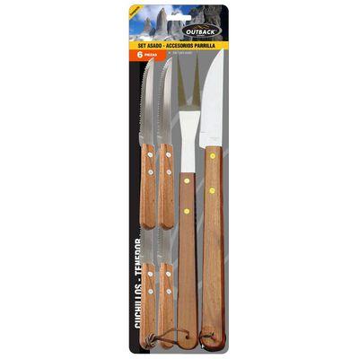 Set De Cuchillos Para Asado Outback 6 Piezas