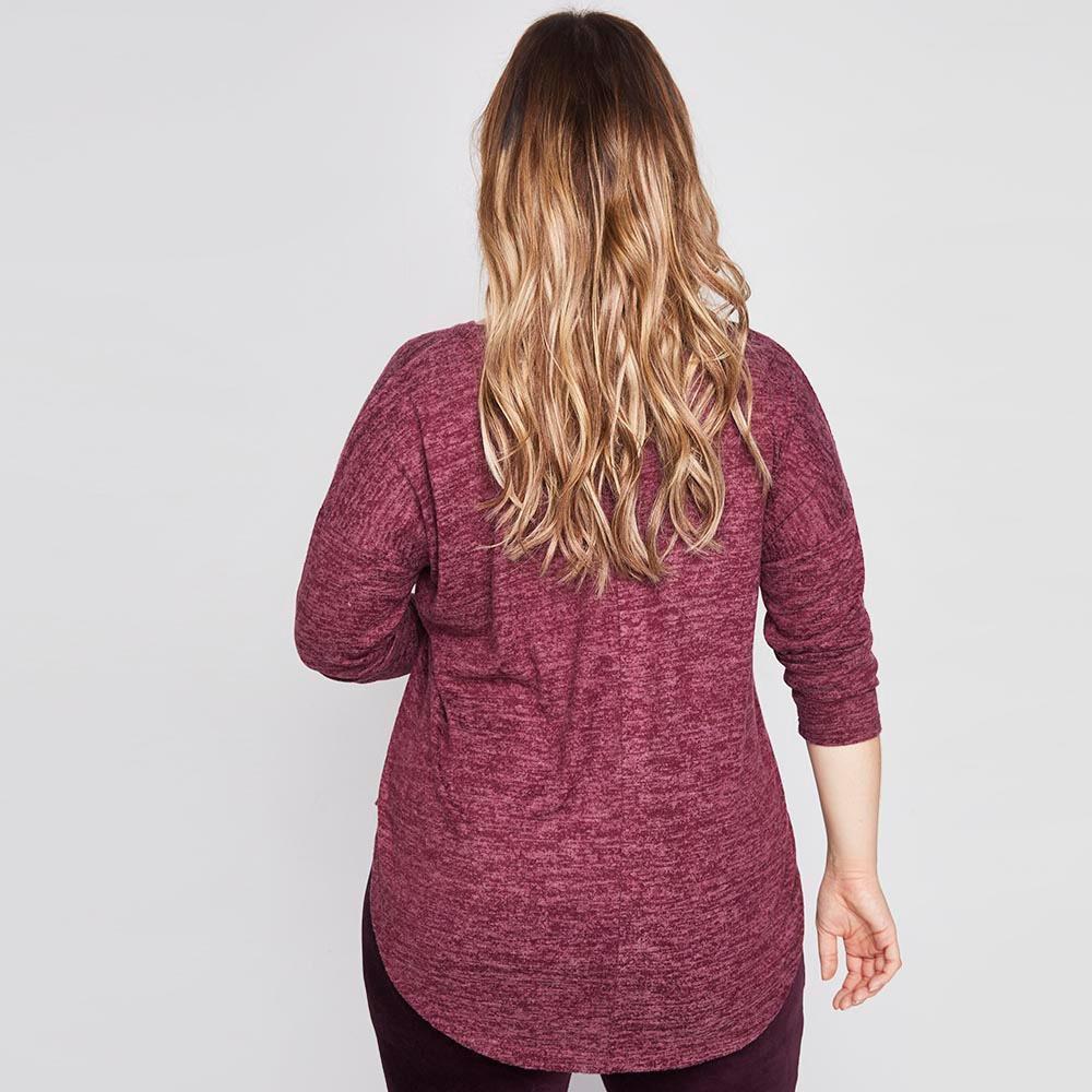 Sweater Jaspeado Largo Cuello V Mujer Sexy Large image number 2.0