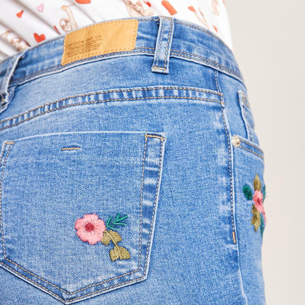 Jeans Bordado Tiro Alto Super Skinny Mujer Freedom image number 5.0