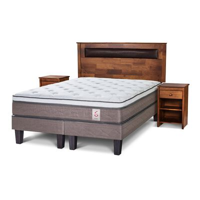 Cama Europea Rosen New Style 6 / 2 Plazas / Base Dividida + Set De Maderas