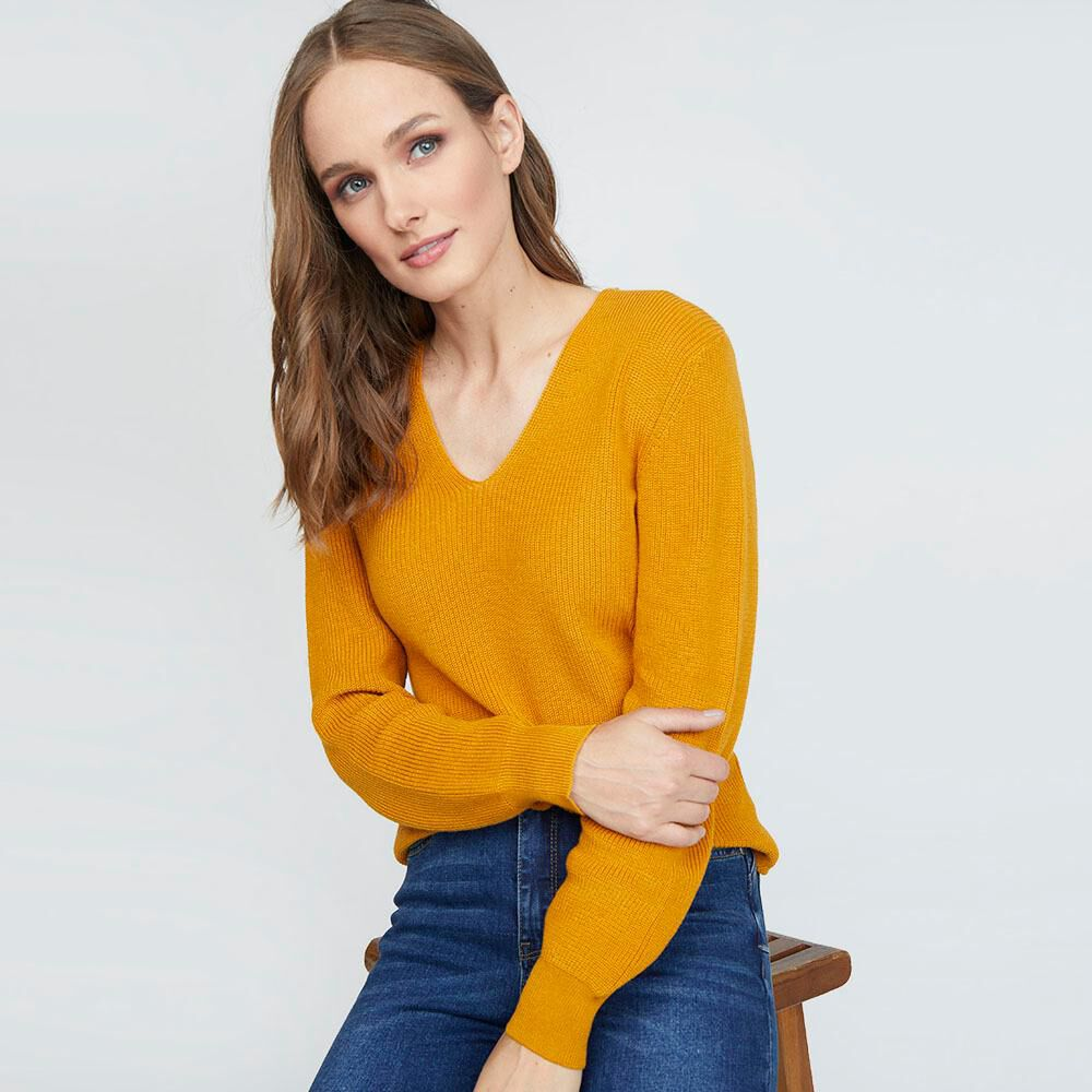 Sweater Liso Cuello V Mujer Kimera image number 0.0