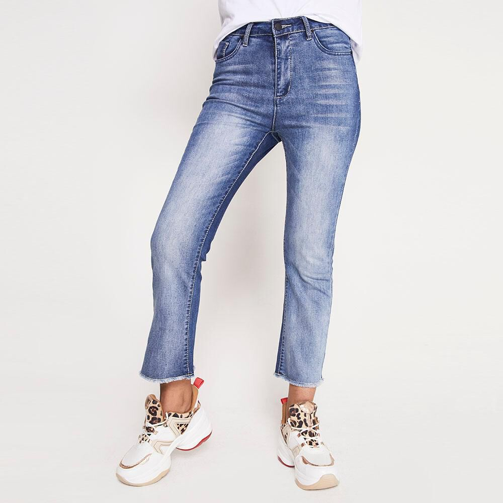 Jeans Tiro Alto Flare Crop Rolly go image number 0.0