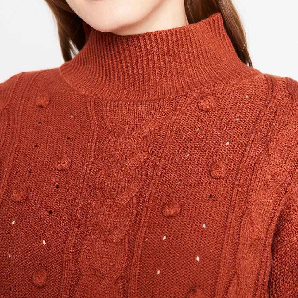 Sweater Pompones Trenzado Cuello Alto Mujer Kimera image number 3.0