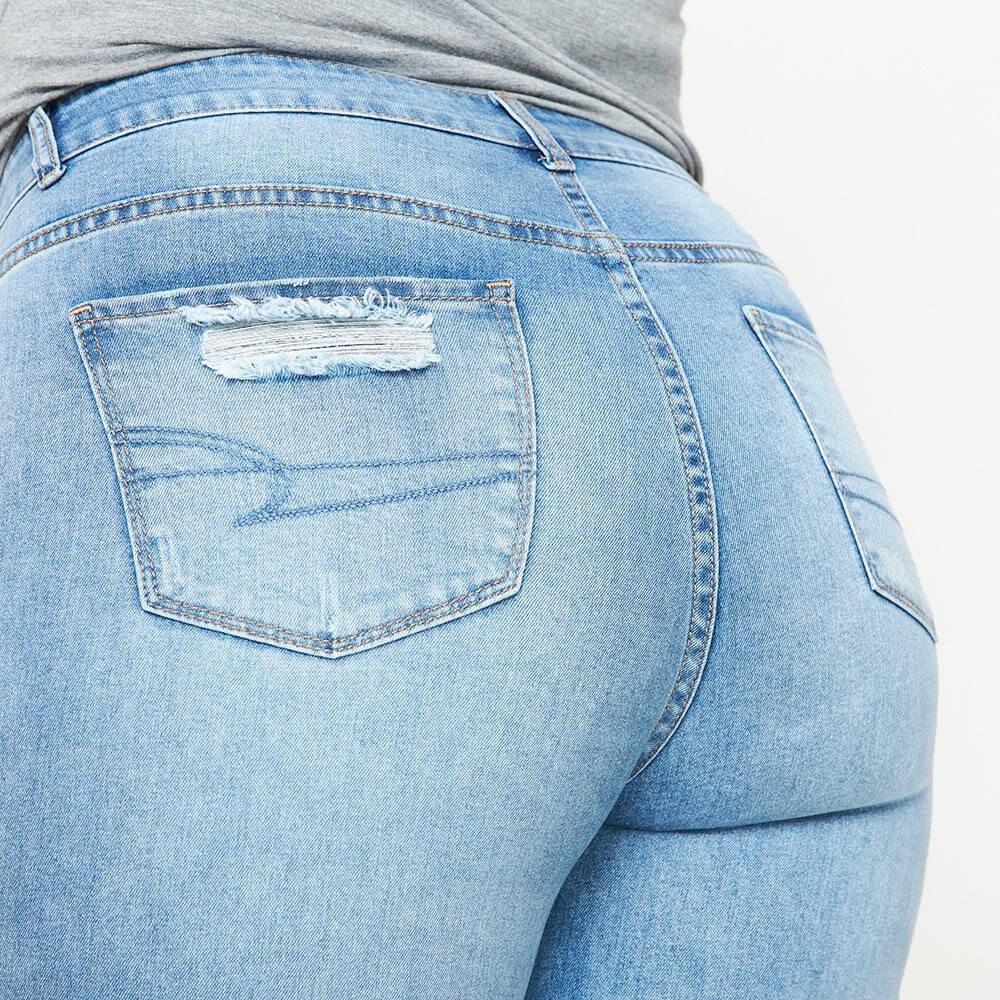 Jeans Tiro Alto Skinny Con Roturas Mujer Sexy Large image number 4.0