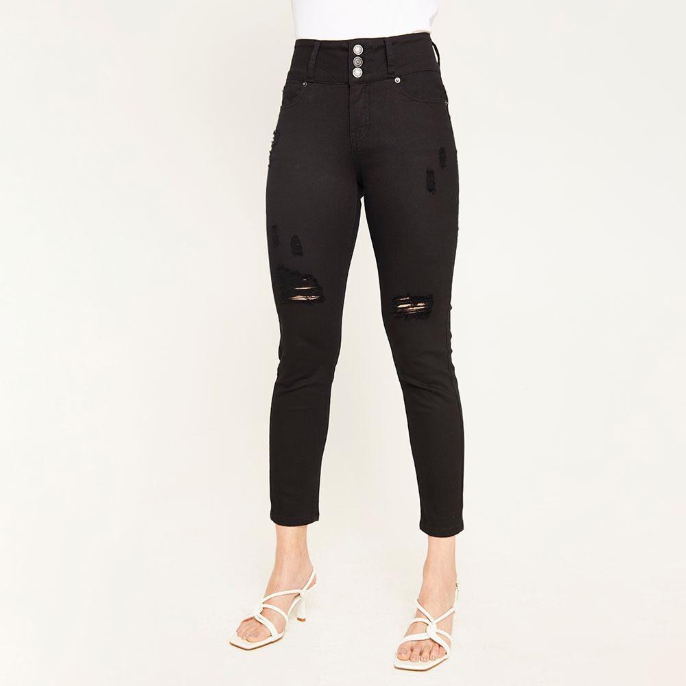 Jeans Color Tiro Alto Skinny Push Up Con Roturas Mujer Kimera image number 0.0