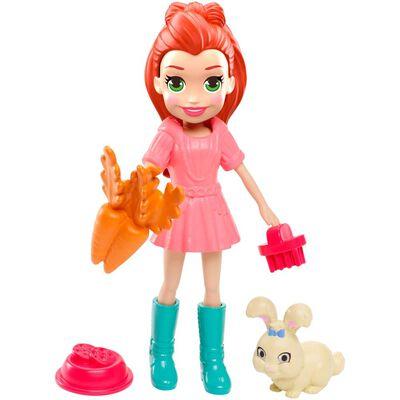 Mini Muñeca Polly Pocket Lila Y Su Conejo