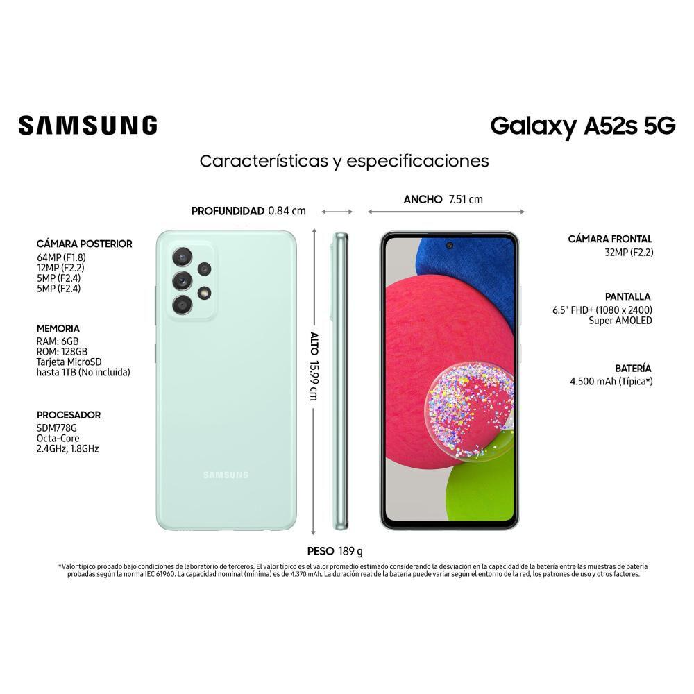 Smartphone Samsung Galaxy A52s Verde / 128 Gb / Liberado image number 2.0