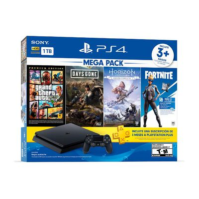 Consola Ps4 1 TB / 1 Control / 3 Juegos / Fornite Voucher / 3 Meses Ps Plus