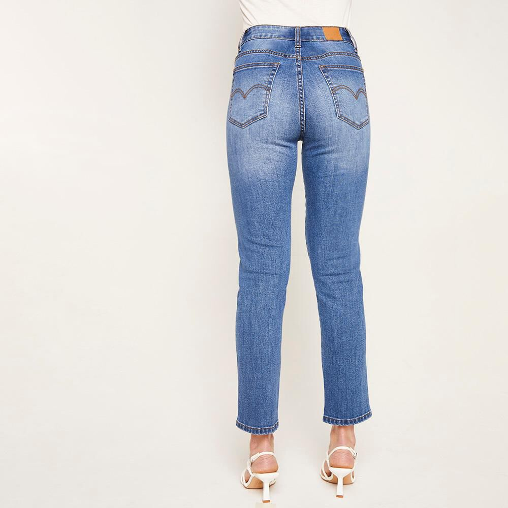 Jeans Crop Tiro Alto Recto Mujer Kimera image number 2.0