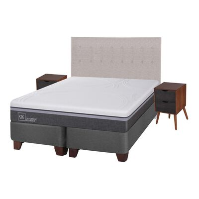 Box Spring Cic Ortopedic / King / Base Dividida  + Set De Maderas