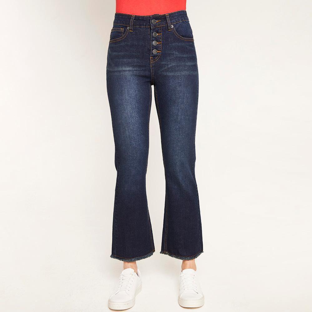 Jeans Flare Tiro Alto Flare 4 Botones Mujer Kimera image number 0.0