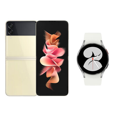 Smartphone Samsung Galaxy Z Flip 3 128 GB Crema + Smartwatch Galaxy Watch4 40 mm Silver